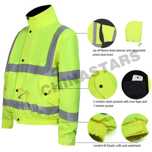 High visibility 4-in-1 reflective safety jacket