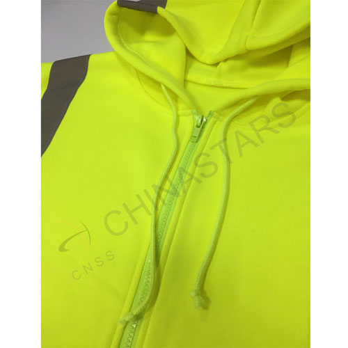 Reflective zip-up hoodie sweater class 2