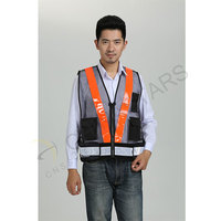 Black mesh warning reflective vest