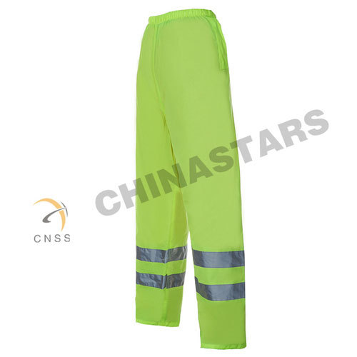 Yellow reflective safety trousers with mesh lining