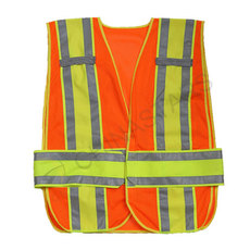 Fluorescent orange mesh reflective vest