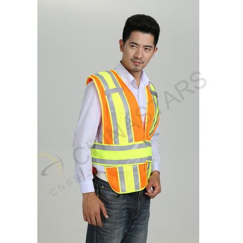 Fluorescent orange mesh reflective vest