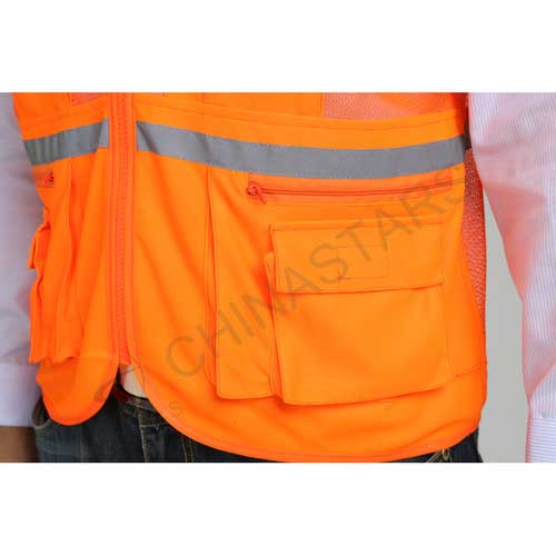 Hi-vis reflective vest with mesh on rear & thin tape