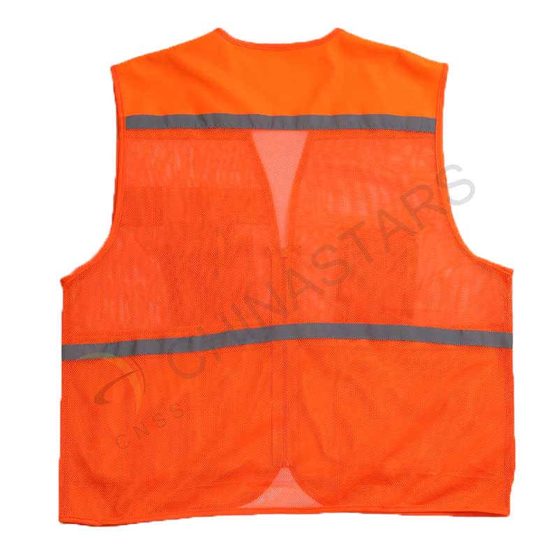 Reflective Polyester Mesh Vests With Pockets For Construction Worker In Summer Silk Screen Company Logo Printing Workplace Safety Supplies Security & Protection