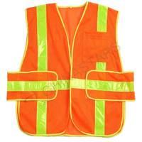 Fluorescent orange reflective vest with prismatic tape