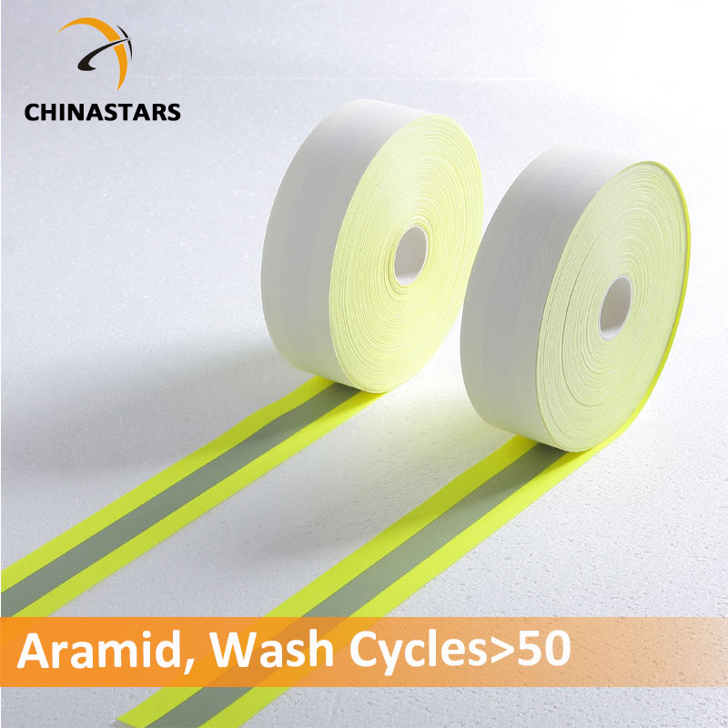 100% aramid fireproof reflective tape yellow-silver-yellow