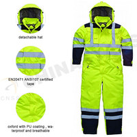 300D oxford  waterproof hi vis safety coverall
