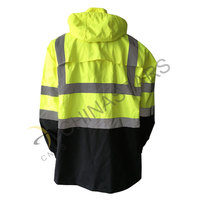 Fluorescent yellow reflective raincoat in two-tone