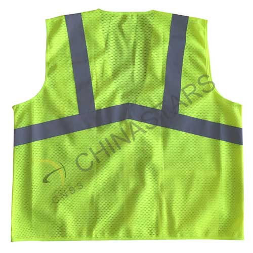 Mesh reflective safety vest with with zipper closure