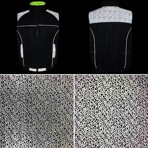 Reflective fabric with branch pattern for outdoor clothing