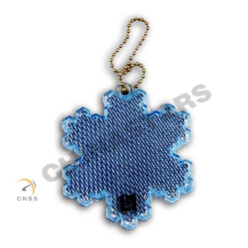 EN 13356 PVC snowflake reflective keychain