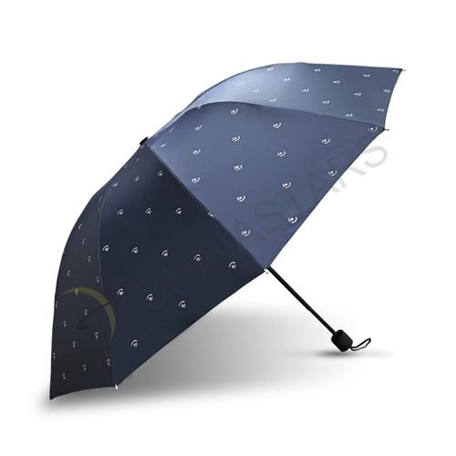 Three folding safety umbrella with reflective pattern