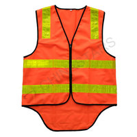 Zipper closure orange reflective vest with prismatic stripe