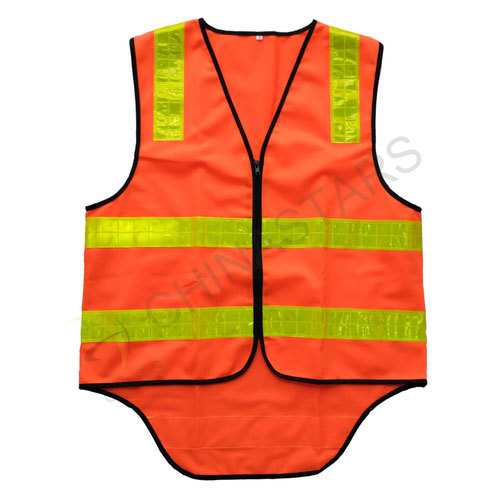 Zipper closure orange reflective vest with prismatic stripe