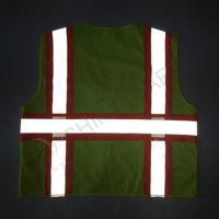 Mesh reflective vest with warning stripe zipper closure