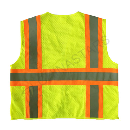 Mesh reflective vest with warning stripe zipper closure