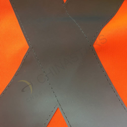Fluorescent orange reflective vest with X reflective strips