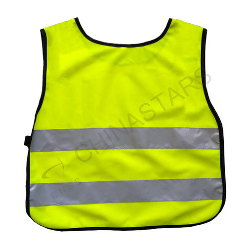 Fluorescent yellow children safety vest with reflective tape