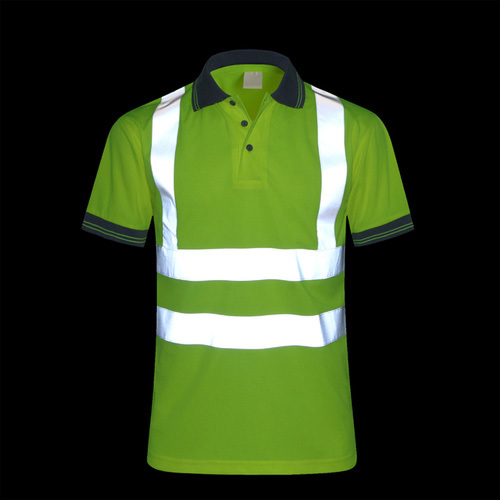 fluorescent yellow breathable reflective safety polo shirt