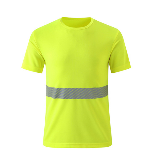 yellow safety T shirt with reflective stripes