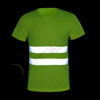 Reflective safety T shirt with double reflective stripe