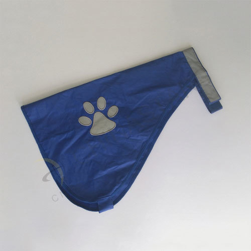Navy blue dog safety vest with paw pattern