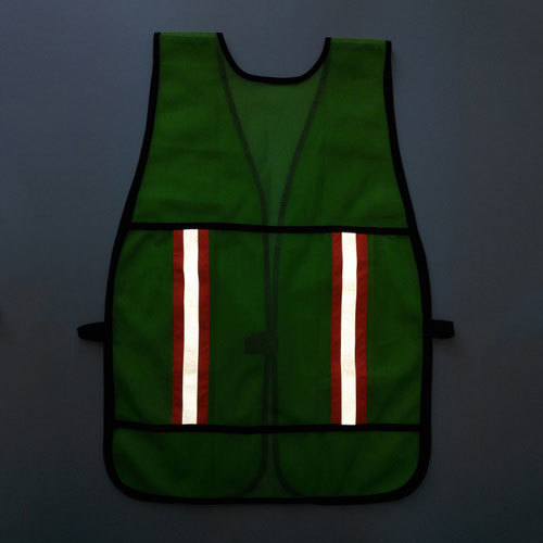 Fluorescent green mesh safety vest