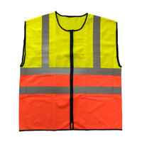 Two-tone color reflective vest with zipper closure