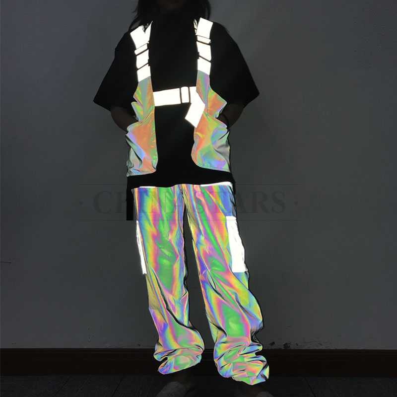 Iridescent rainbow reflective fabric for fashion design