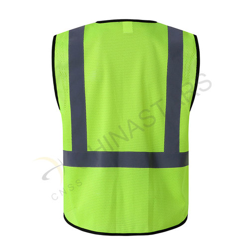 Yellow reflective vest with multifunctional pockets