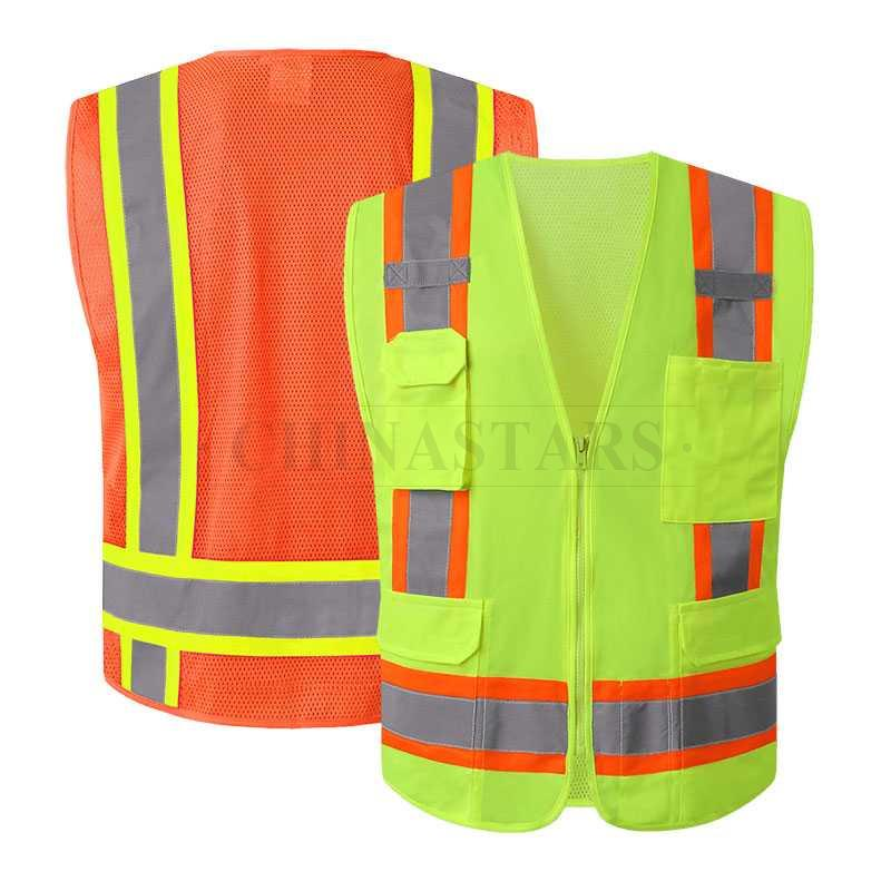 ANSI107 Class 2 Reflective vest With Zipper Closure