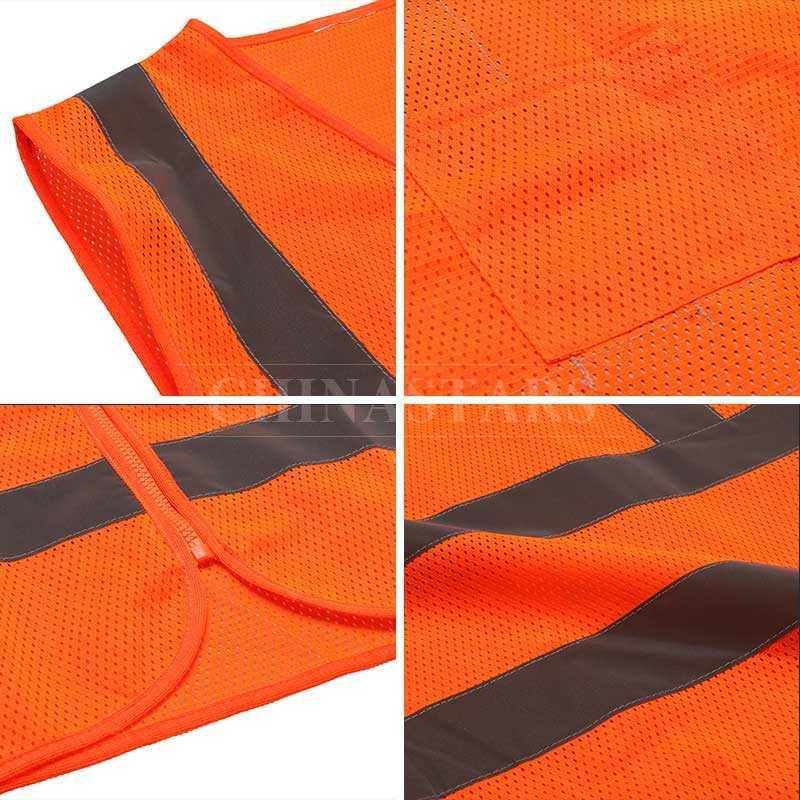 ANSI107 Class 2 mesh reflective vest with zipper closure