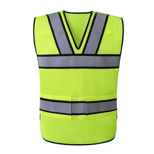 Fluorescent lime safety vest with solid tricot