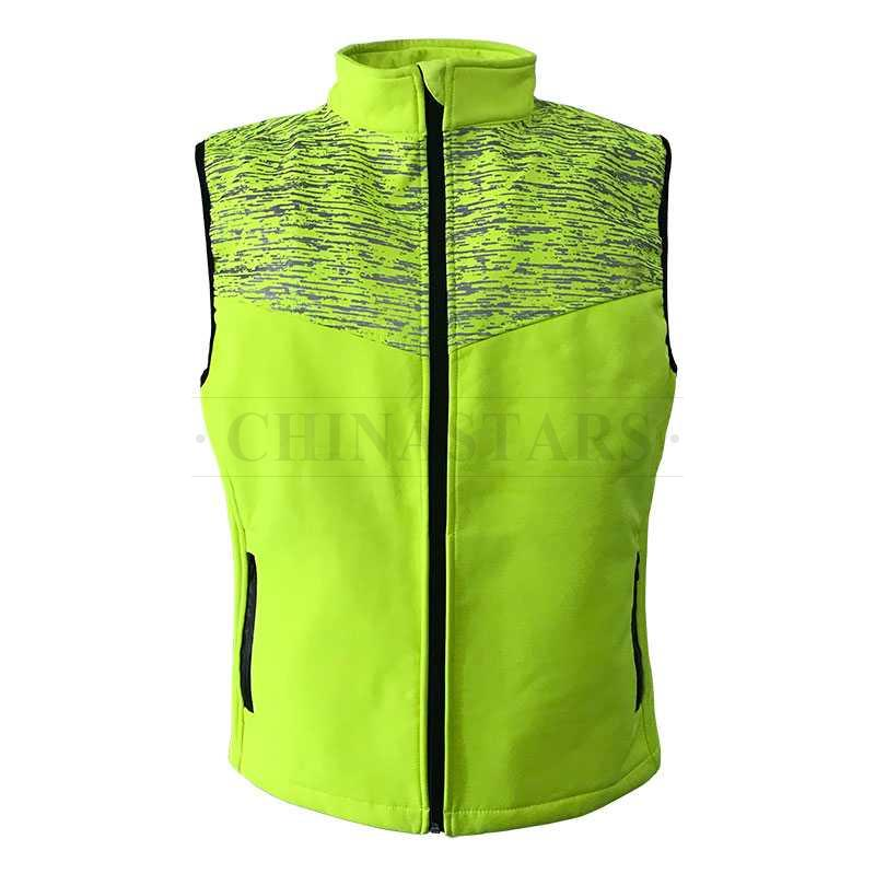 running high visibility vest with zipper closure