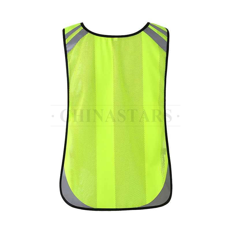 Tricot and mesh fabric safety vest