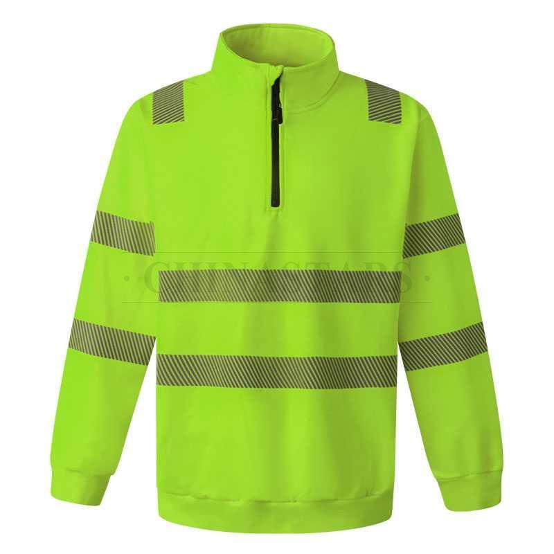 ANSI 107 & EN 20471 Class 3 hi-vis 1/4 zip pullover sweatshirt