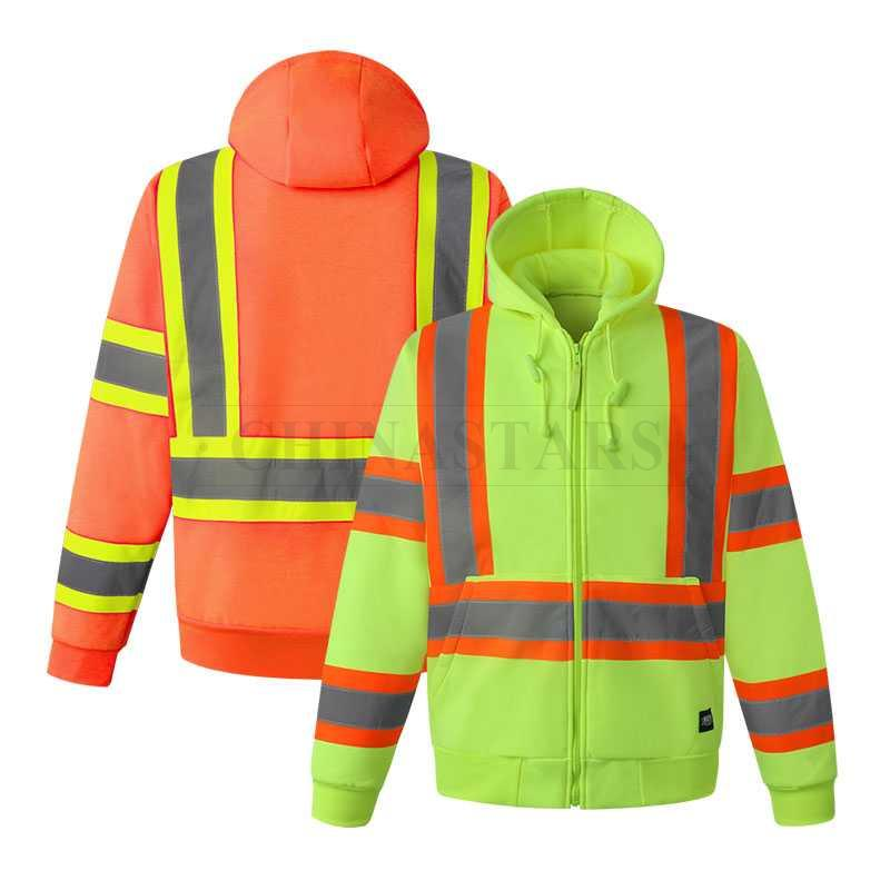 ANSI107 Class 3 reflective hooded sweatshirt