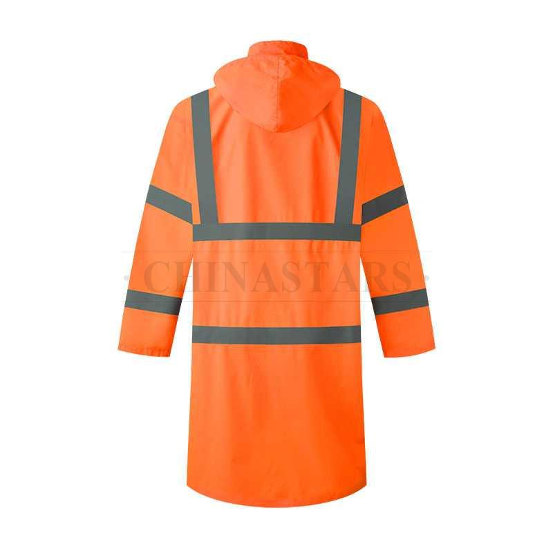 ANSI 107 & EN 20471 Class 3 reflective raincoat with zippers and snaps
