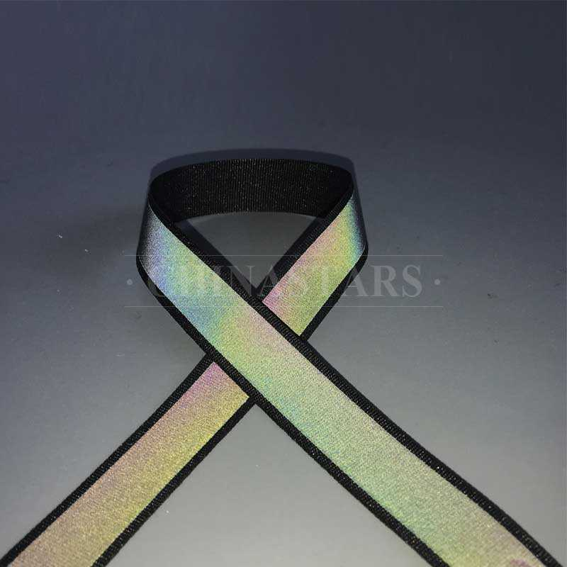 Rainbow color reflective ribbon tape for clothing