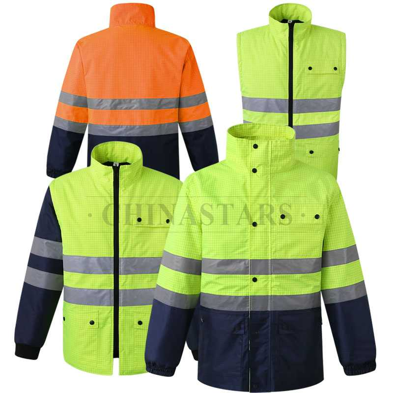 4-in-1 waterproof safety reflective jacket