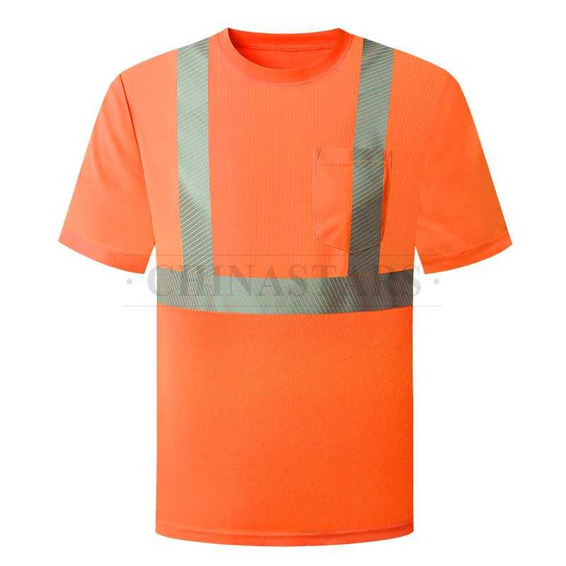 Fluorescent reflective shirt with silver segmented reflective tapes