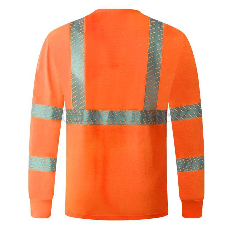 Reflective long sleeve shirt with segmented reflective stripes
