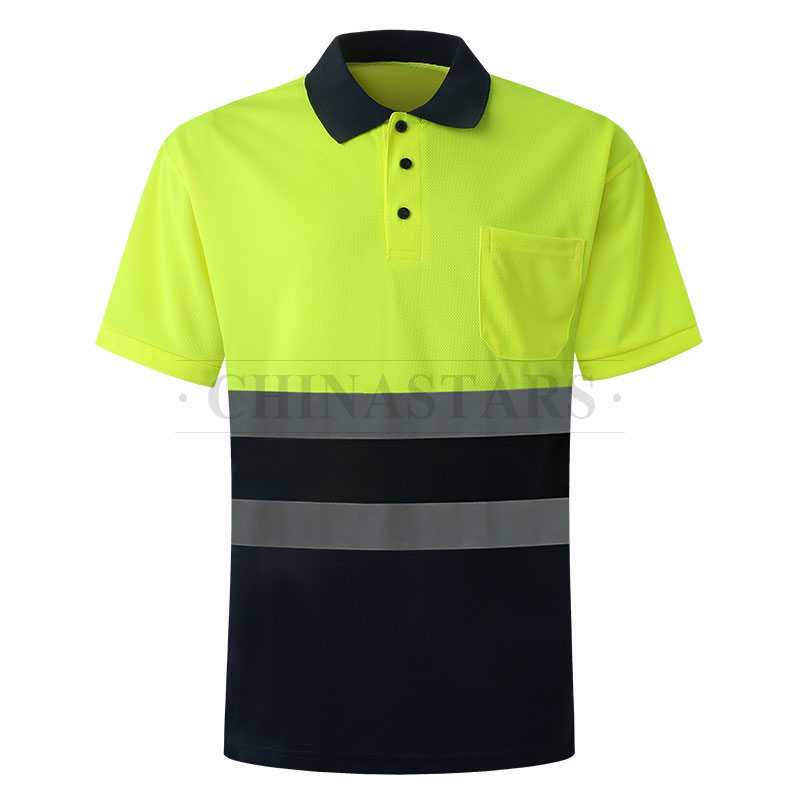 Two tone reflective polo shirt with reflective tape