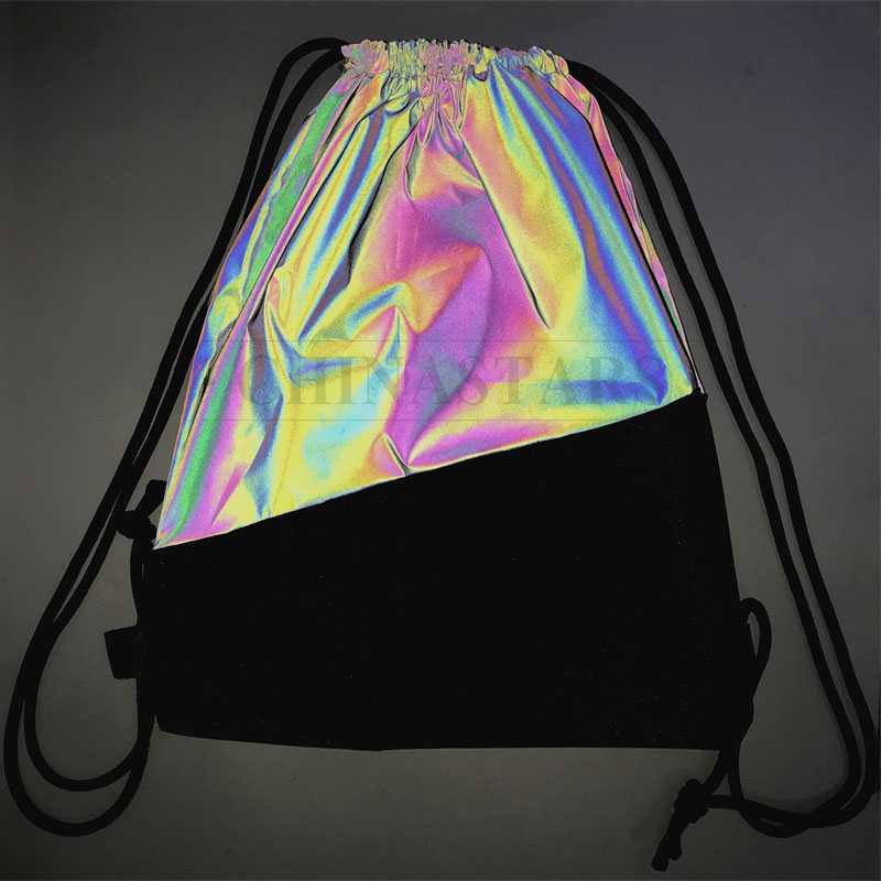 Rainbow Reflective Drawstring Backpack