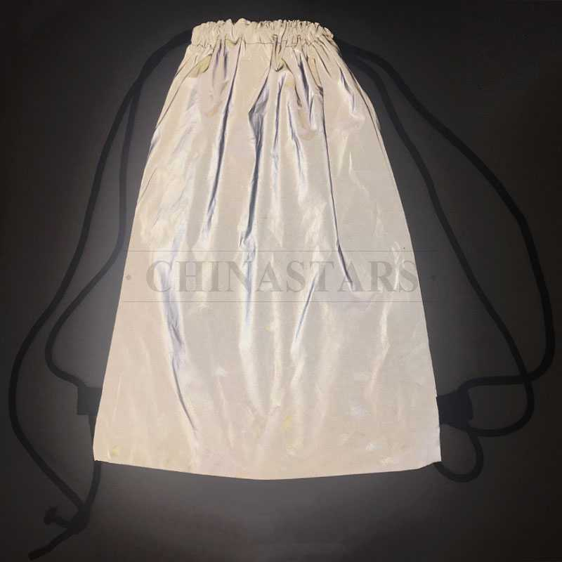 Silver Grey Reflective polyester Drawstring Sports bag