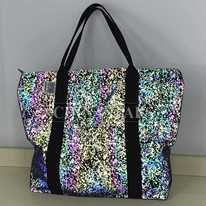 Reflective rainbow printed Tote Bag with Handles
