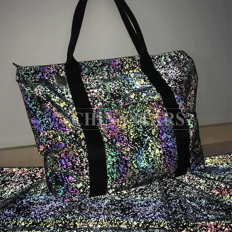 Reflective rainbow printed Tote Bag with Handles