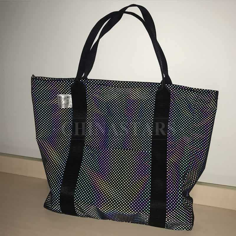 Iridescent reflective-print tote bag with dots pattern