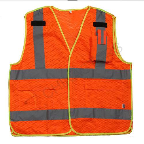 Hi viz mesh safety vest with pocket