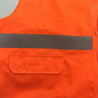 EN ISO 20471 orange safety vest with mesh fabric